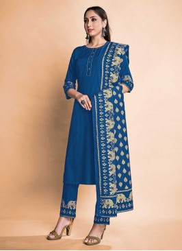 Blue Color Rayon Girls Wear Suits