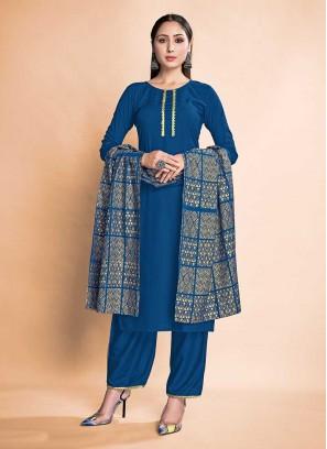 Blue Color Rayon New Design Suit