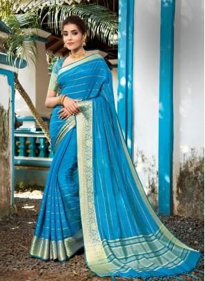 Blue Color Resham Silk Festive Wear Saree