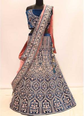 Blue Color Resham Work Bridal Lehenga