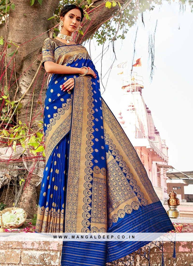 Blue Color Saree In Silk