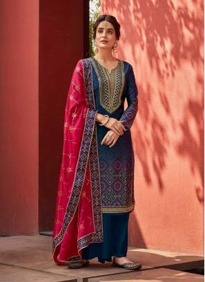 Blue Color Satin Digital Print Ladies Dress