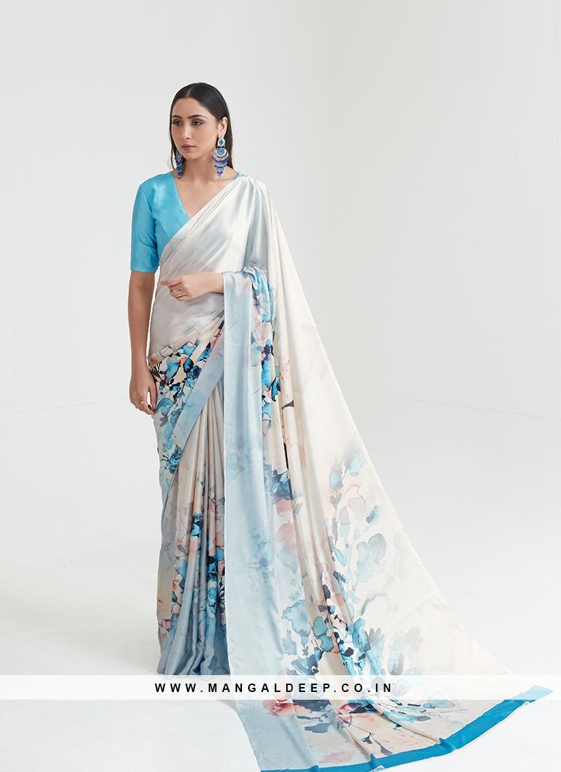 Blue Color Satin Printed Saree