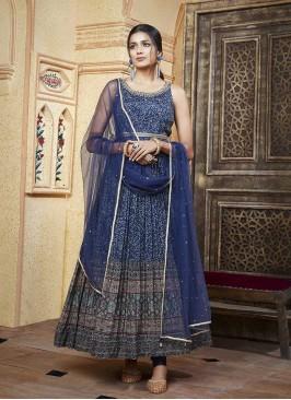 Blue Color Satin Silk Anarkali Suit