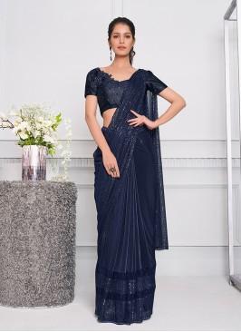 Blue Color Sequins Work Designer Saree