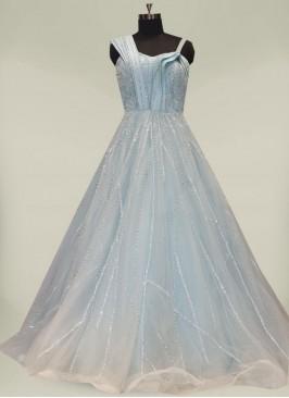 Blue Color Sequins Work Net Fancy Gown