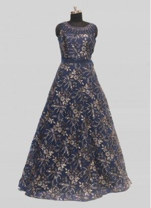 Blue Color Sequins Work Net Gown For Reception
