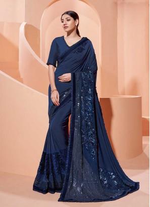 Blue Color Sequins Work Saree