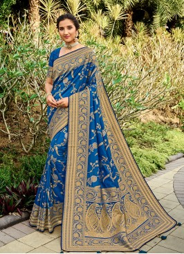 Blue Color Silk Dazzling Saree