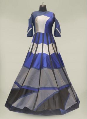 Blue Color Silk Designer Gown