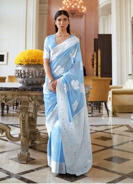 Blue Color Silk Fancy Saree