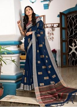 Blue Color Silk Festive Wear Saree