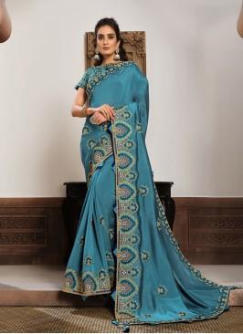 Blue Color Silk Georgette New Saree