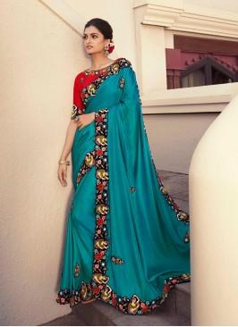 Blue Color Silk Heavy Border Saree