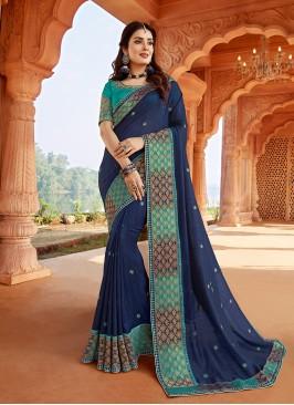 Blue Color Silk Latest Design Saree