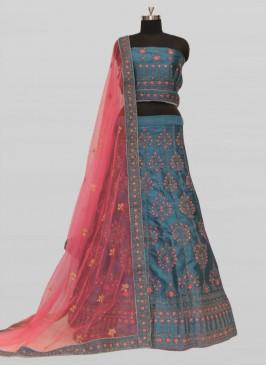 Blue Color Silk Lehenga For Girls