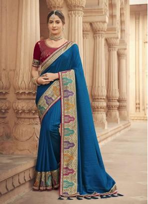 Blue Color Silk Party Wear Saree New Design