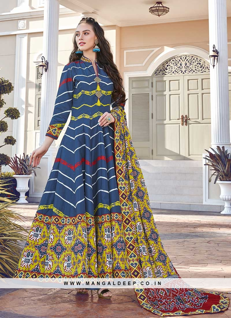 Blue Color Silk Patola Print Anarkali Suit