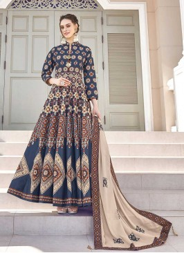 Blue Color Silk Patola Print Long Dress