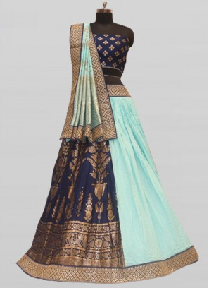 Blue Color Silk Pattu Lehenga For Wedding