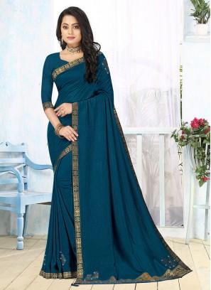 Blue Color Silk Plain Saree