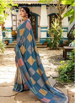 Blue Color Silk Saree For Girls