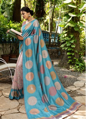 Blue Color Silk Saree For Party