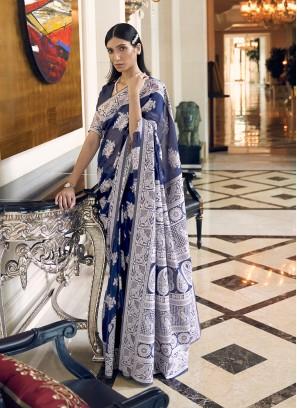 Blue Color Silk Saree For Women