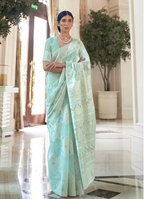 Blue Color Silk Weaving Work Saree