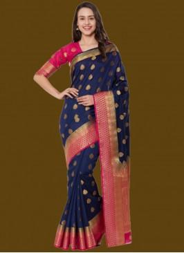 Blue Color Silk Zari Work Saree