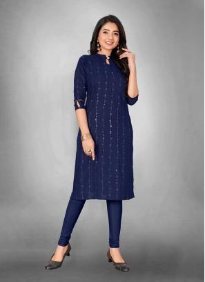 Blue Color Slub Cotton Daily Wear Kurti