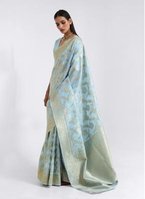 Blue Color Thread Work New Saree