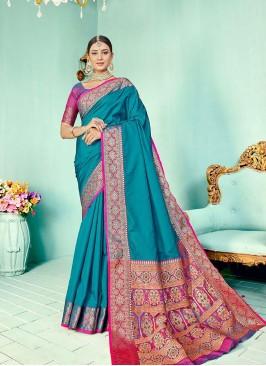 Blue Color Two Tone Silk Fancy Saree
