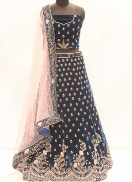 Blue Color Velvet Bridal Lehenga