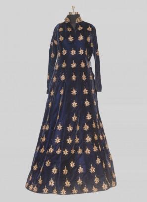 Blue Color Velvet Diamond Work Gown