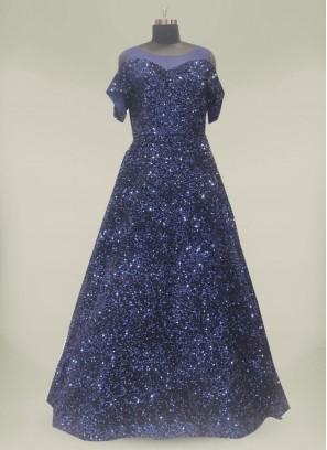Blue Color Velvet Indian Gown Online