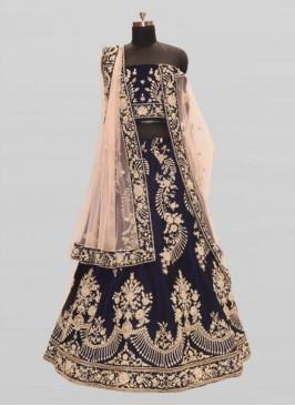 Blue Color Velvet Lehenga For Wedding