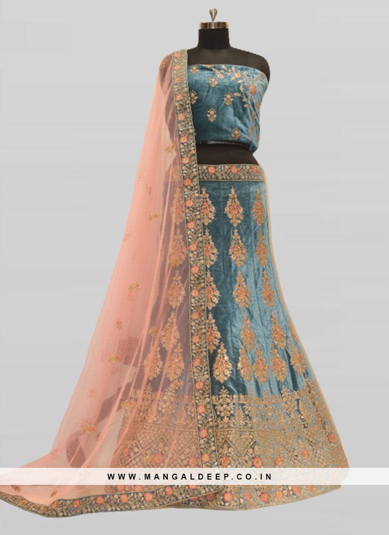 Blue Color Velvet Resham Work Lehenga Online