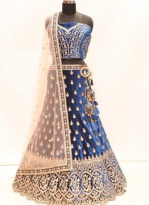 Blue Color Velvet Zari Work Wedding Lehenga
