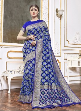 Blue Color Viscose Saree For Ladies