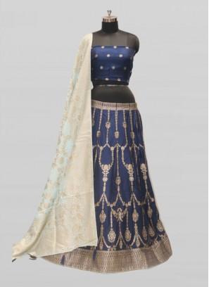 Blue Color Woven Work Banarasi Lehenga Choli