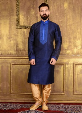 Blue Colour Art Banarasi Silk Kurta Pajama