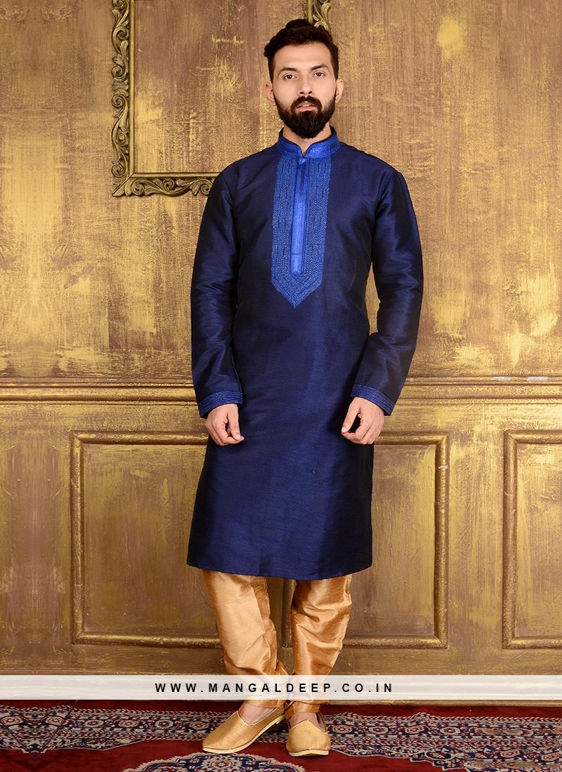 dba5a8306e Blue Colour Art Banarasi Silk Kurta Pajama