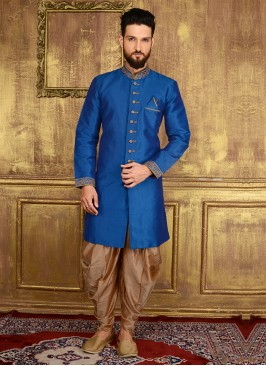 Blue Colour Embroidered Men's Panjabi Suit