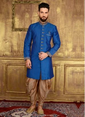 Blue Colour Embroidered Men