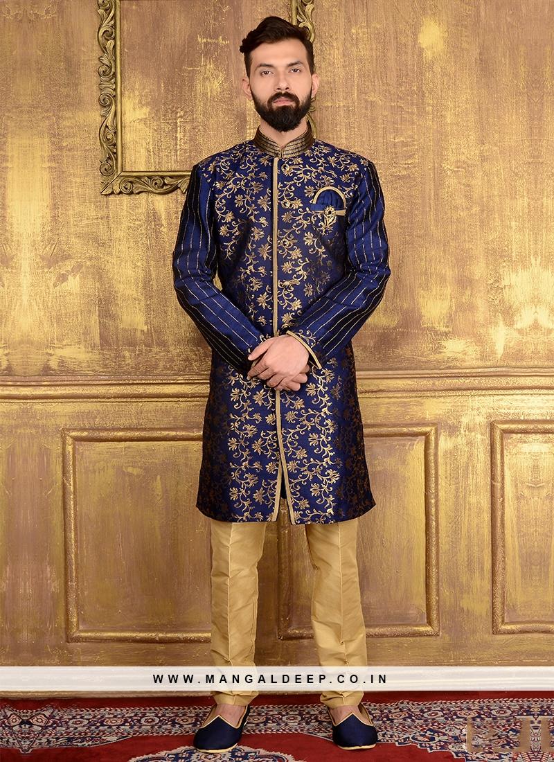 Blue Colour Sami-Indo Western Sherwani