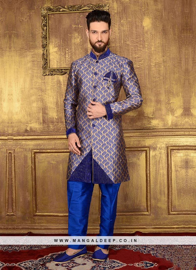 Blue Designer Indo Wetsern Sherwani