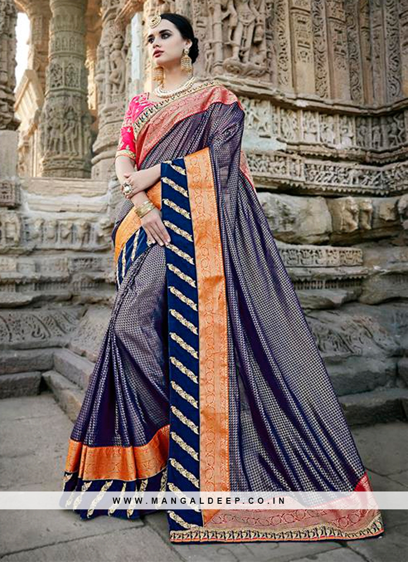 Blue Designer Traditional Party Wear Saree