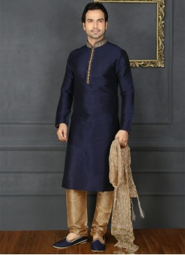 Blue Embroidered Kurta Pajama