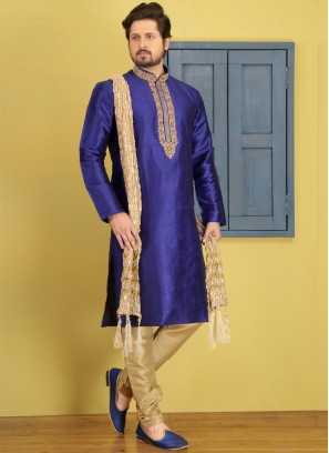 Blue Embroidered Kurta Pajama